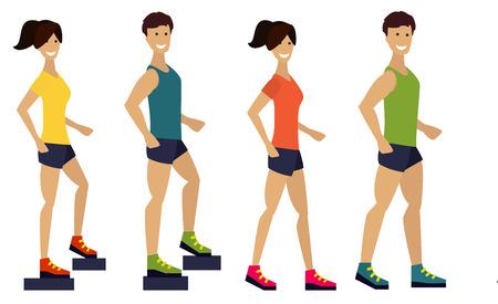 Uitoefenen van het paar, fitness man en vrouw. Platte ontwerp illustratie.