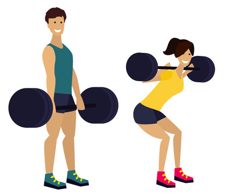powerlifting: Fitness man and woman with barbell in gym. Exercising couple.  Flat design illustration.