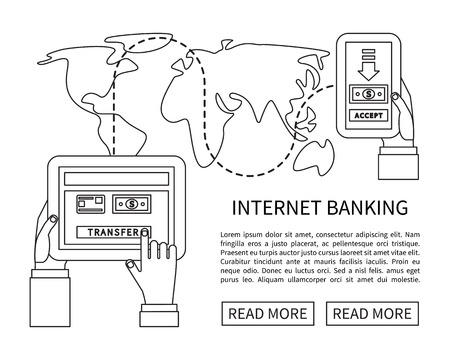 money transfer: Internet banking, mobile payments and money transfer. Linear flat design vector. Illustration