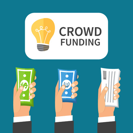 loan: Crowdfunding process. Investing to startup business idea. Flat design illustration.