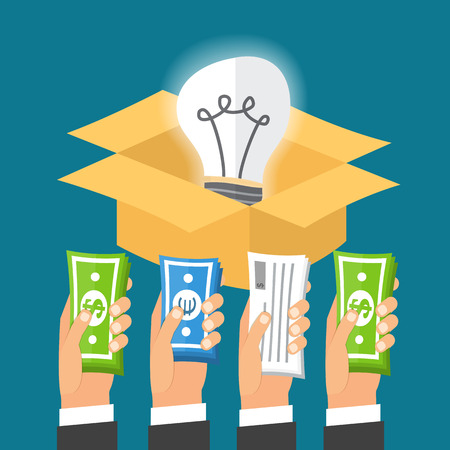 pay raise: Crowdfunding process. Investing to startup business idea. Light bulb in a box. Flat design illustration.