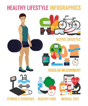and activities: Healthy lifestyle infographic. Fitness, healthy food and active living. Athletic man in a gym. Flat design vector illustration. Illustration