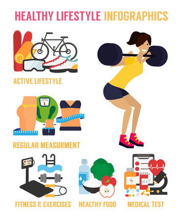 Healthy lifestyle infographic. Fitness, healthy food and active living. Flat design vector illustration. Illustration