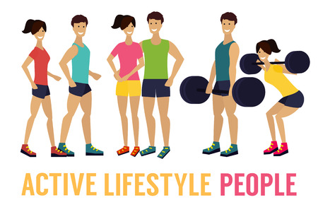 woman exercising: Fitness man and woman. Exercising couple.  Healthy lifestile. Flat design illustration.