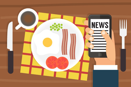 morning: Morning news. Smartphone addiction. Using mobile during morning food. Flat design vector