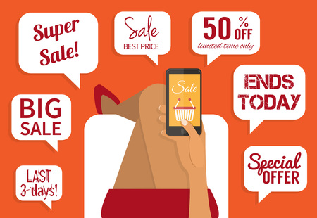 woman smartphone: Shopping addiction. Sale signs. woman holding smartphone. Flat design vector illustration.