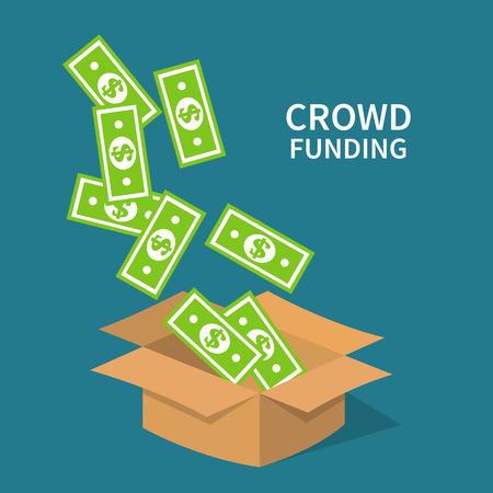 Crowdfunding, investing to startup business idea. Money saving box. Flat design illustration.