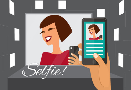 woman smartphone: Woman taking selfie in a mirror. Hand holding smartphone vector illustration.