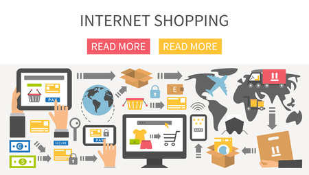 shopping: Internet shopping banner. Flat design vector illustration