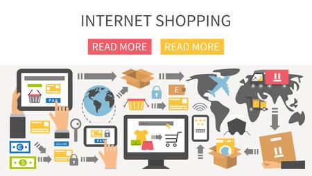 Internet shopping banner. Flat design vector illustration