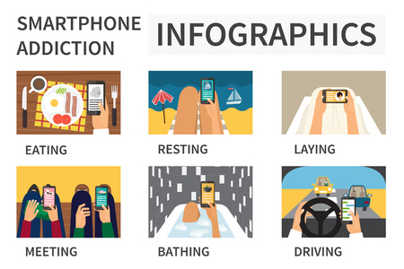 daily life: Smartphone addiction infographic. People using smart phone in daily life. Flat design concept vector. Illustration