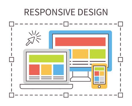Diseño Responsive Web, desarrollo de aplicaciones y la página de la construcción. Delgada línea iconos vectoriales plana