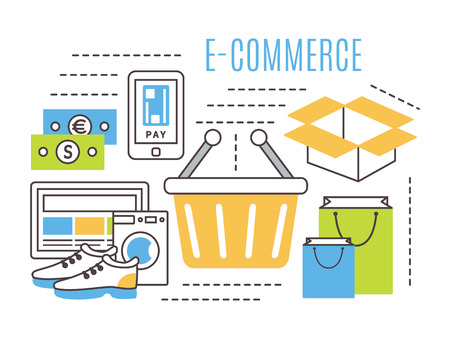 delivery package: Internet shopping, online shopping, e-commerce concept. Thin line flat vector icons.
