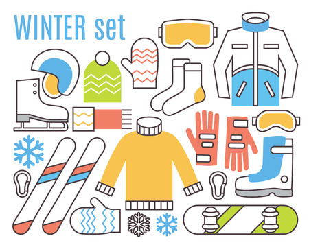 skating on thin ice: Winter activities. Snowboard, ski and warm cloths. Thin line flat vector icons. Illustration