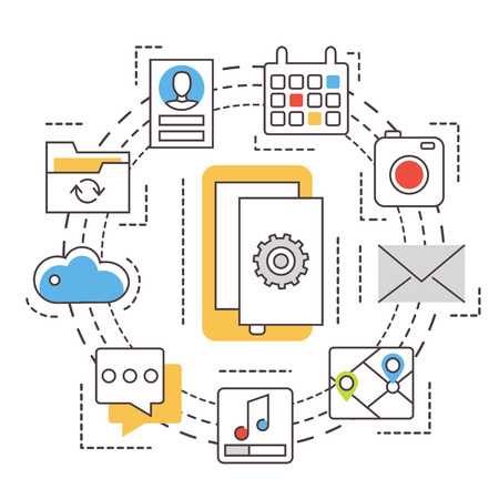 mobile apps: Application development. Mobile apps. Thin line flat vector icons. Illustration
