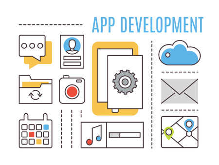 platform: Application development. Mobile apps. Thin line flat vector icons. Illustration