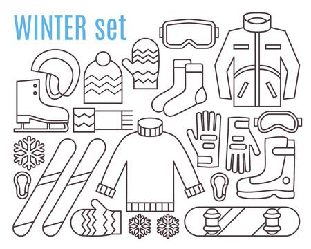 icono deportes: Las actividades de invierno. Snowboard, esquí y paños calientes. iconos vectoriales plana de la forma.