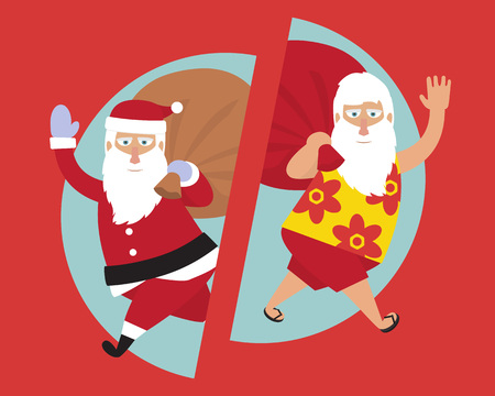 Santa Claus. Merry Christmas and happy new year. Traditional and Santa on vacation.