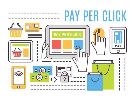 klik: Pay per click reclame op het internet concept. Flat dunne lijn vector iconen.
