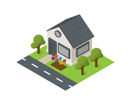 isometric house building icon with flower and trees