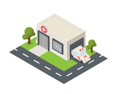 ambulancia: isom�trica icono del edificio del hospital con el coche de emergencia