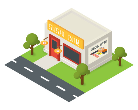 overhang: isometric sushi restaurant cafe building icon Illustration