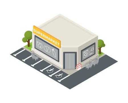 supermarket trolley: isometric supermarket store shopping building icon. Illustration