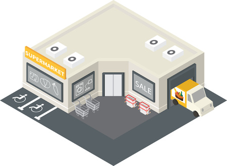 supermarket cart: isometric supermarket store shopping building icon. Illustration