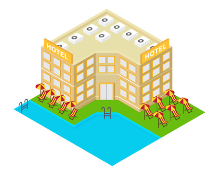resort beach: isometric hotel building icon. 3d summer holiday