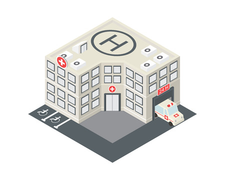 isometric hospital building icon with emergency car and helipad on the roof