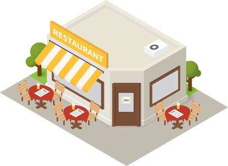 ristorante: isometrica ristorante-caffetteria. icona di costruzione piatta