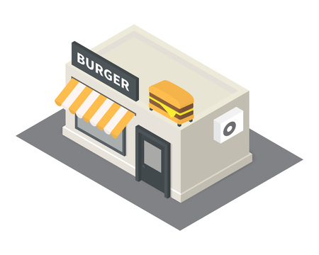 overhang: isometric fast food restaurant. Flat building icon