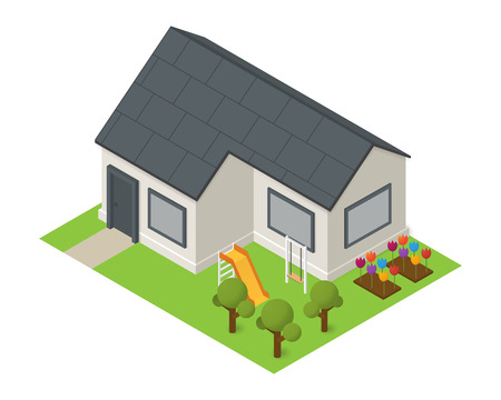 residental: isometric residential house. Flat building icon with flowers trees and playground Illustration