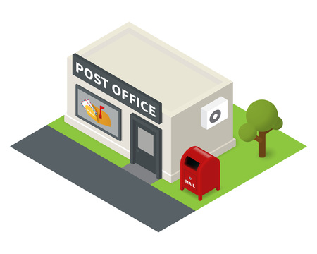 overhang: isometric post office. Flat building icon with mail box