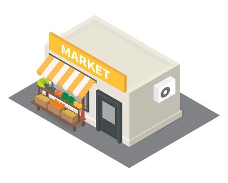 벡터 아이소 메트릭 시장은 야채와 함께 포장 마차. 플랫 건물 아이콘