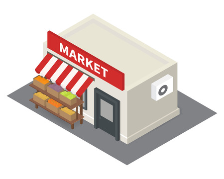 isometric market stalls with vegetables. Flat building icon