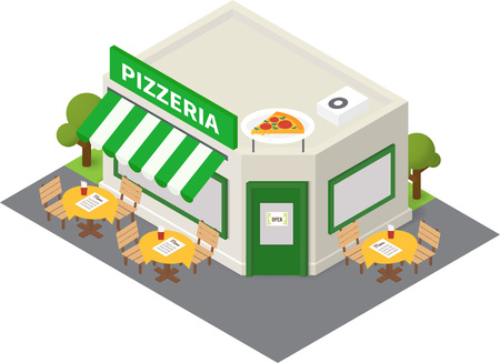 overhang: isometric pizzeria restaurant. Flat building icon