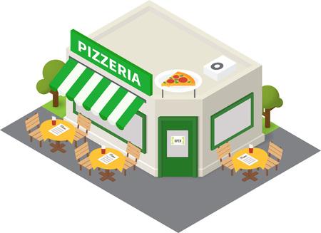 isometric pizzeria restaurant. Flat building icon