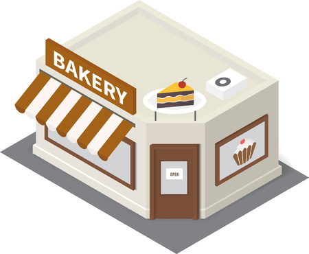 isometric bakery shop. Flat building icon