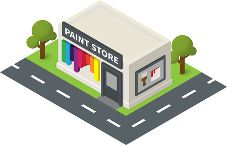 overhang: isometric hardware shop, paint store. Flat building icon