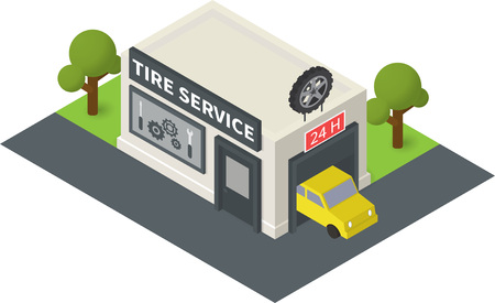 overhang: isometric tire service. Flat building icon