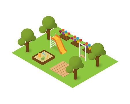 niños en area de juegos: parque infantil isométrica. icono del mapa la vivienda Vectores