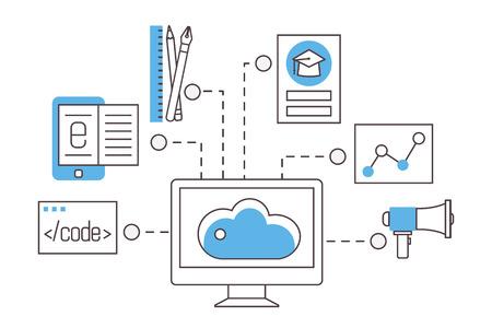 E-learning. La educación en línea, cursos de formación, cursos y seminarios. iconos vectoriales plana de la forma. Ilustración de vector