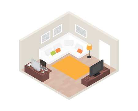 furniture computer: Isometric room interior with computer and furniture. 3d vector illustration
