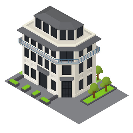 overhang: Vector isometric hotel shopping mall building icon.
