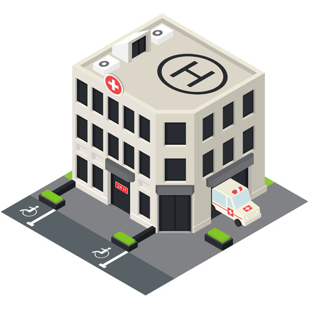 overhang: Vector isometric hospital building icon with emergency car and helipad on the roof.