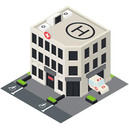Vector ospedale isometrica icona edificio con auto di emergenza e eliporto sul tetto. Vettoriali