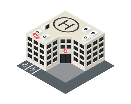 hospital icon: Vector isometric hospital building icon with emergency car and helipad on the roof.