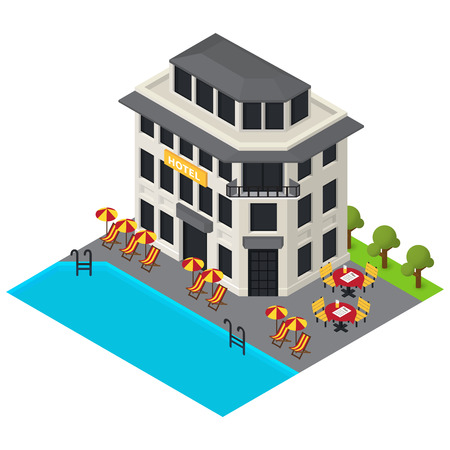 resort: Vector isometric hotel building icon.  3d exterior Illustration