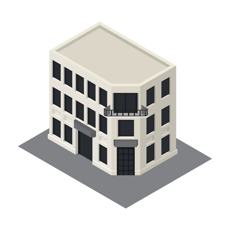 overhang: Vector isometric building icon.  3d city map elements